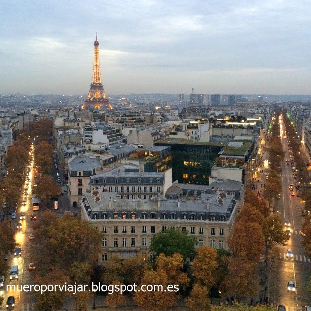 Vistas de la Tour Eiffel desde el Arc de Triomphe