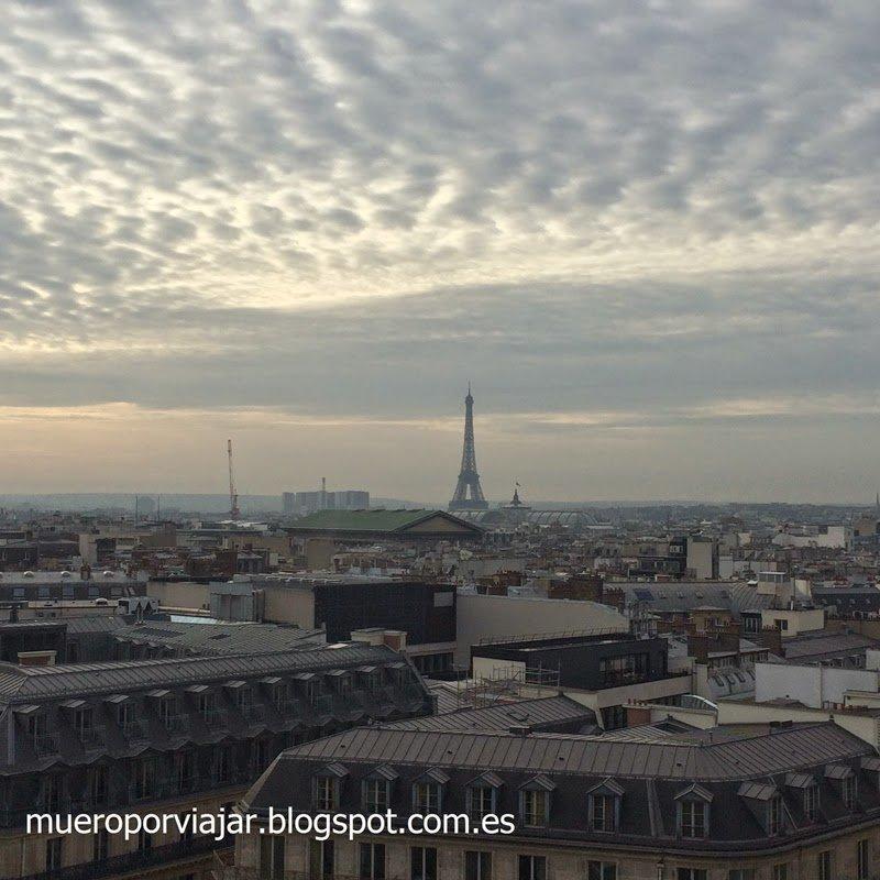 Vista de la Tour Eiffel desde las galerías Lafayette