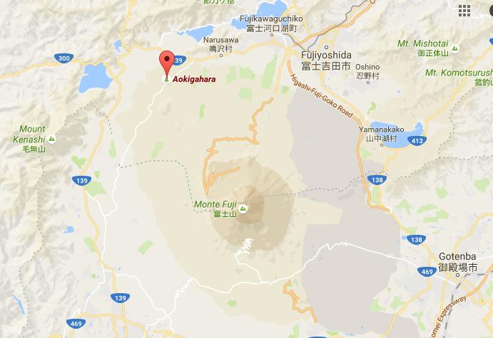 Localización del bosque de los suicidios - Aokigahara
