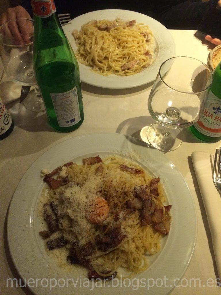 Rica pasta italiana en el Ristorante del Drago