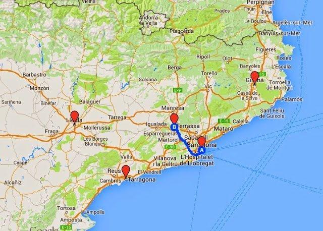 Mapa Google. Distancia de Montserrat respecto a Barcelona