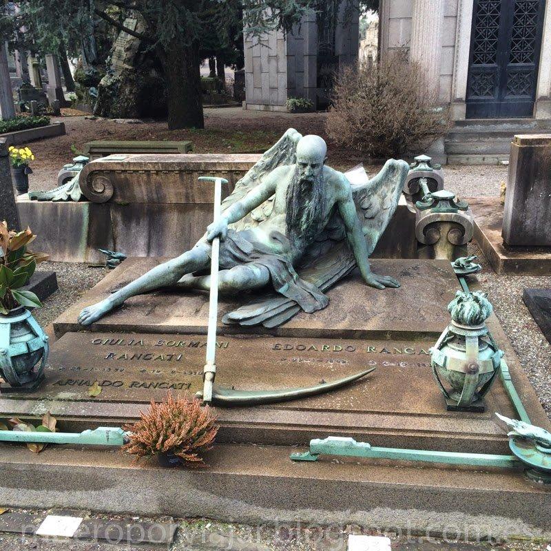 Lapida con una figura de la muerte en el cementerio monumental de Milán