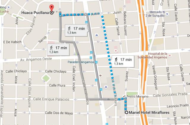 Recorrido desde el Hotel Mariel en Miraflores hasta Huaca Pucllana