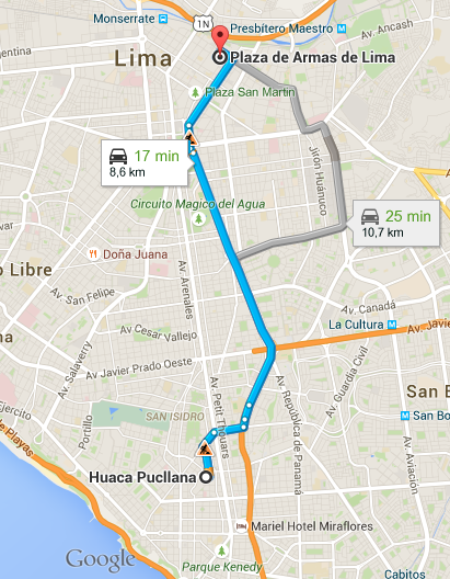 Recorrido desde Huaca Pucllana hasta la Plaza de Armas de Lima