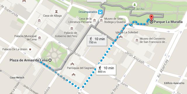 Recorrido desde la Catedral de Lima hasta el Parque de la Muralla