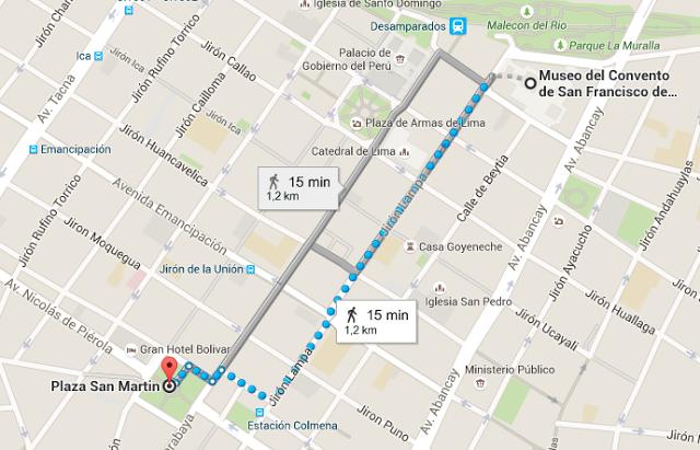 Recorrido desde el Museo del Convento de San Francisco hasta la Plaza de San Martin