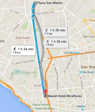 Recorrido desde la Plaza de San Martín hasta el Hotel Mariel en Miraflores