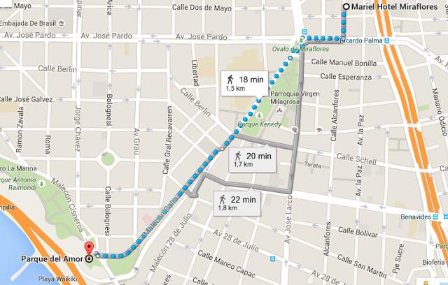 Recorrido desde el Hotel Mariel en Miraflores hasta el Parque del Amor