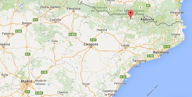 Google Maps con el punto de la Vall de Boí, Lleida
