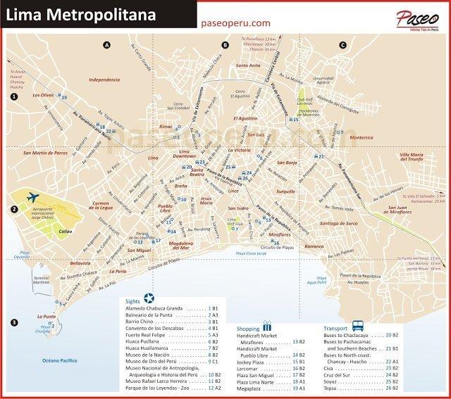 Mapa callejero de Lima con sus principales atracciones