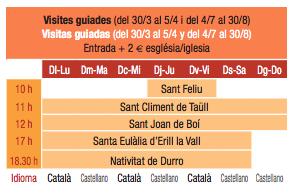 Horarios de las visitas a las iglesias de la Vall de Boí