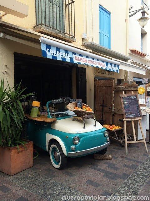 Creperia con una decoración muy bonita en Collioure