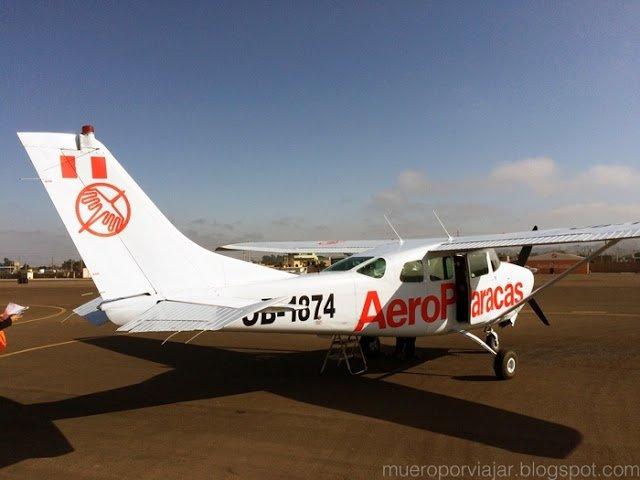 Nuestra avioneta de Aeroparacas preparada para la aventura sobre las lineas de Nasca