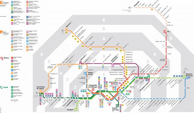 Mapa trenes de Renfe de la zona del area metropolitana de Barcelona