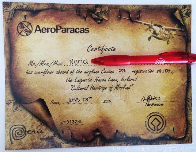 Certificado acreditando que hemos sobre volado las lineas de Nasca y hemos sobrevivido