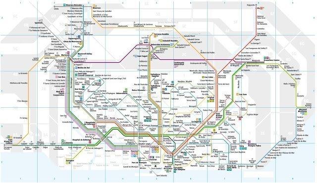 Mapa trenes de FGC de la zona del area metropolitana de Barcelona