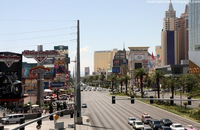 La famosa calle principal, la Strip de Las Vegas
