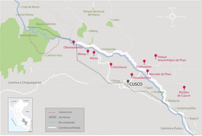 Ruta entre Cuzco y Ollantaytambo