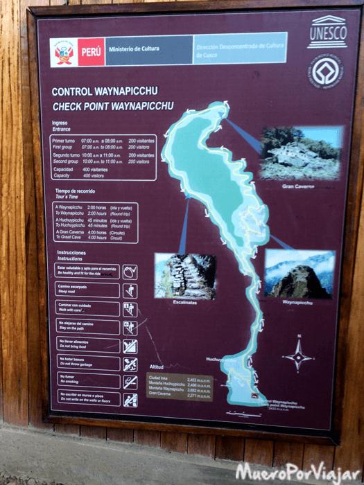 Control para poder subir al Waynapicchu