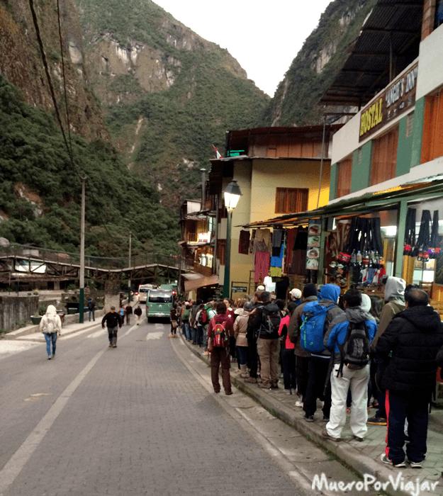 Cola para subir al bus que te lleva al Machu Picchu