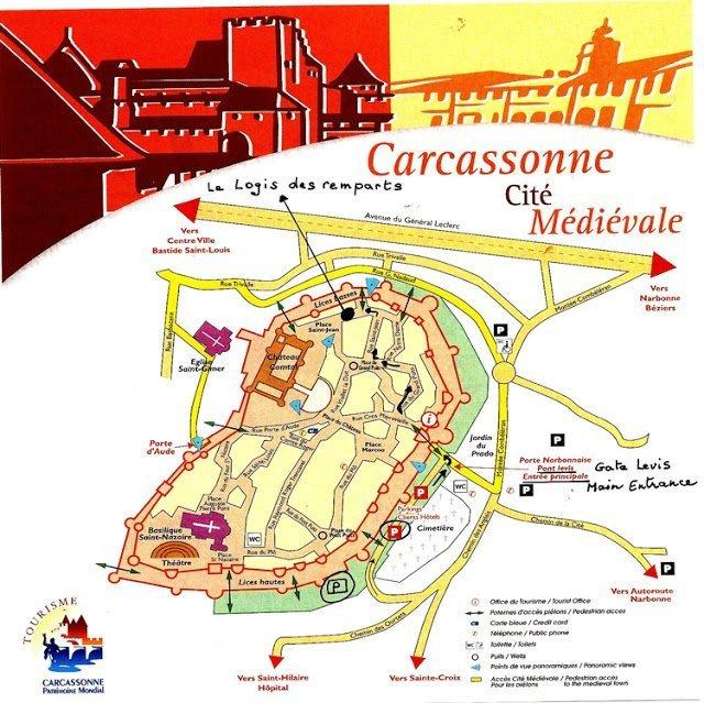 Mapa del interior de Carcassonne