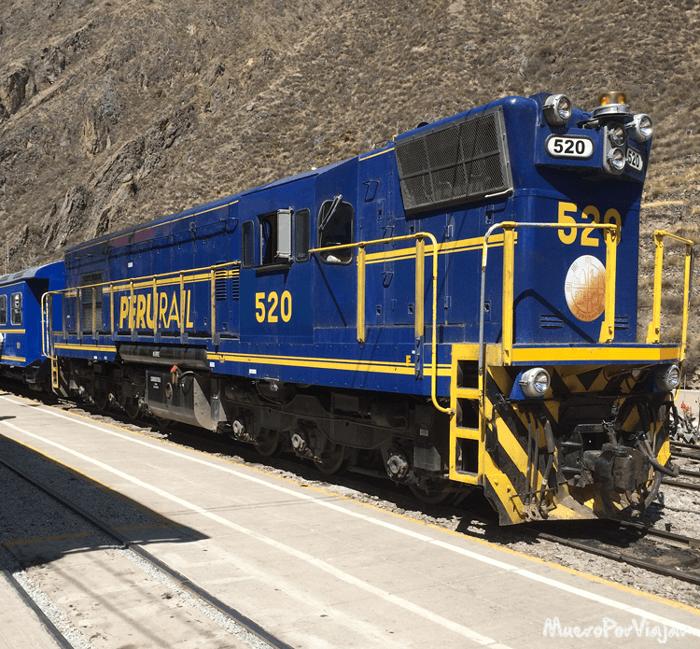 El tren de Perurail con destino a Machu Pichu