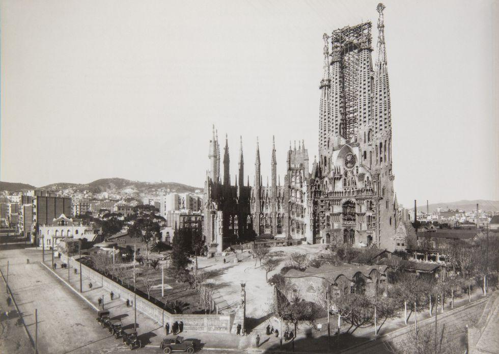 Estado de las obras de la Sagrada Familia a la muerte de Gaudí, en 1928. Foto de El País
