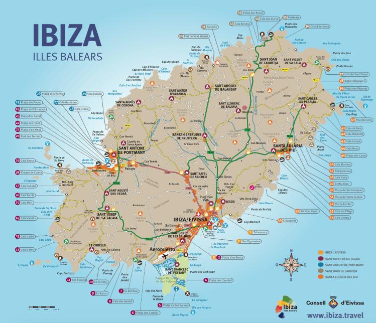 Mapa de Ibiza con los lugares de interés para turistas