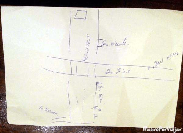 Plano de las zonas de restauración que nos dibujó el medico