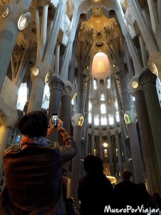 El interior de la Sagrada Familia intenta imitar un bosque, Gaudí siempre mezcla religión y naturaleza en sus obras