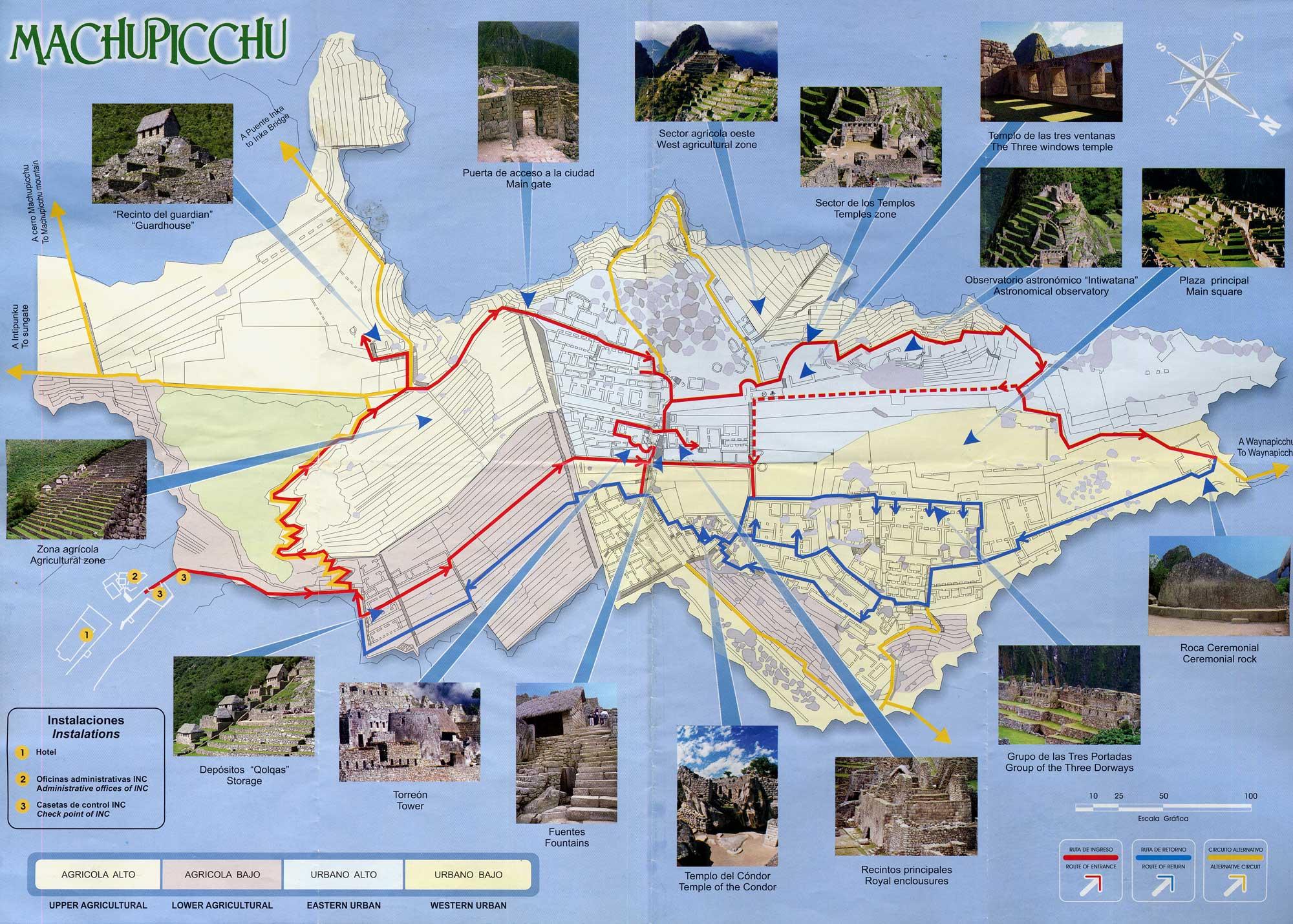 Mapa oficial con los puntos de interés del Machu Picchu