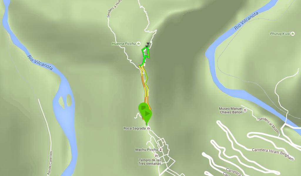 La subida la Waynapicchu en mapa