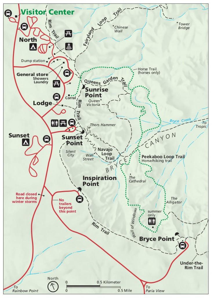 Mapa de las rutas y transporte del Bryce Canyon en Utah