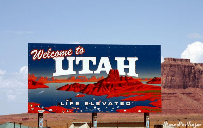 Cartel de bienvenida a Utah