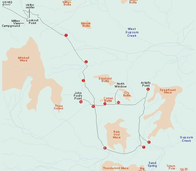 Mapa con las rutas y los principales puntos de interes de Monument Valley