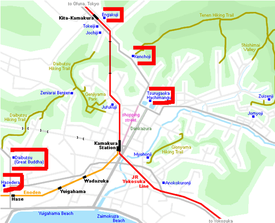 Mapa con la ruta y los templos de Kamakura