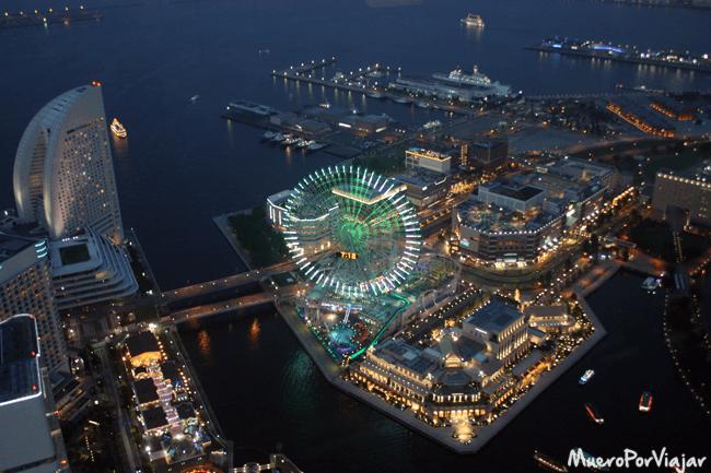 Vistas nocturnas desde Landmark Tower en Yokohama
