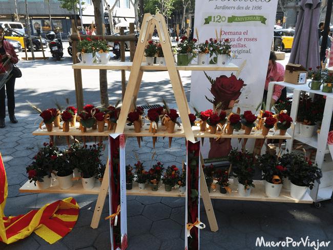 Como no puede faltar en la diada de Sant Jordi, las rosas tiñen de rojo toda la ciudad