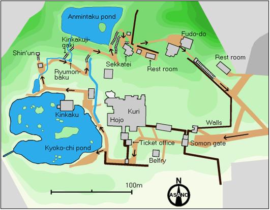 Mapa del Templo Dorado (Kinkaku-ji)