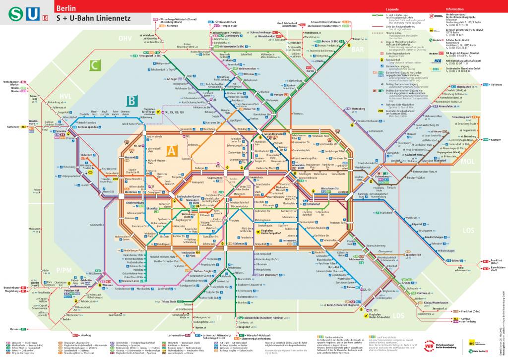 Mapa de la red de U-Bahn y S-Bahn en Berlín