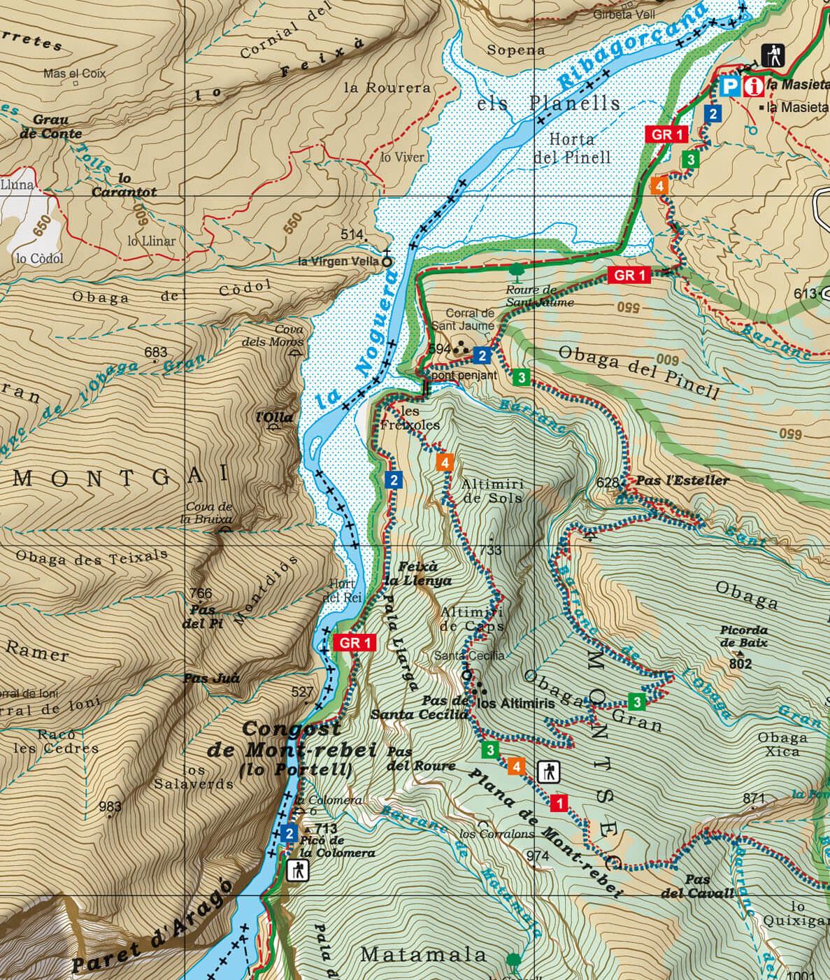 Mapa del Congost del Mont-Rebei