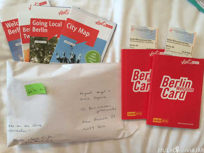 Los Berlin welcome Card que nos regalaron en nuestra visita