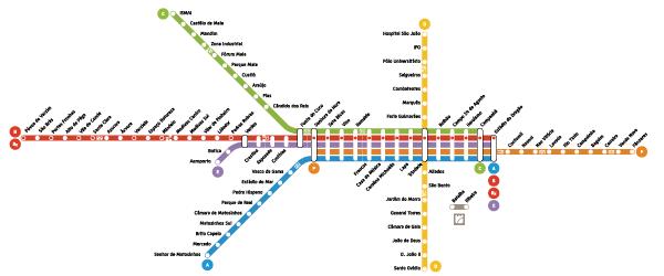 Plano de las líneas de metro de Oporto