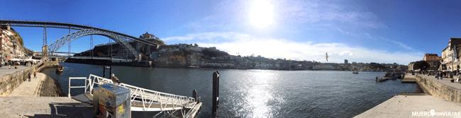 El Rio Duero con el Puente Luis I en Oporto