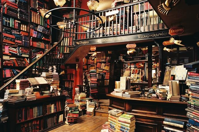 Imagen de la libreria Flourish & Blotts de Harry Potter