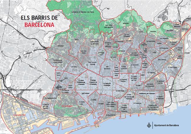 Mapa de los barrios de la ciudad de Barcelona