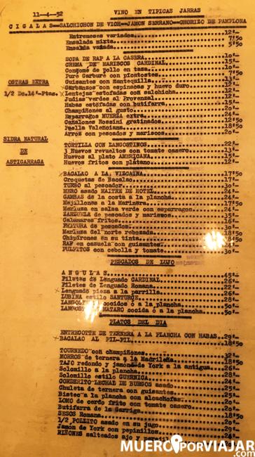 La primera carta de alimentos del restaurante Amaya en Barcelona