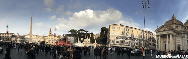 Panorámica de la Piazza del Popolo en Roma