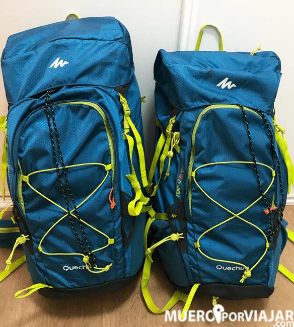 Nuestras mochilas para el viaje de 15 días a Indonesia