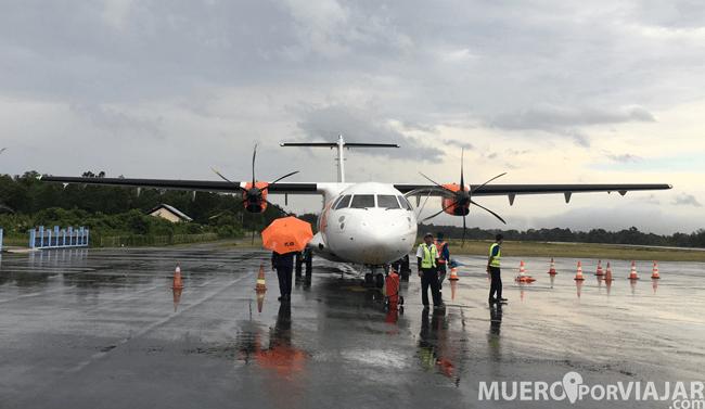 Nuestro avión del aeropuerto de Borneo - Indonesia